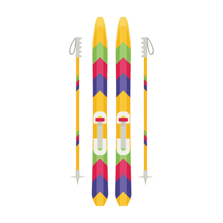 slope: Colorful sport winter ski isolated illustration Illustration