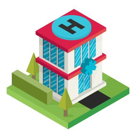ortseingangsschild: Vektorisometrische Krankenhausgebäude Symbol Illustration