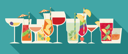 Alcohol drinks and cocktails set in flat design style with long shadow. Illustration