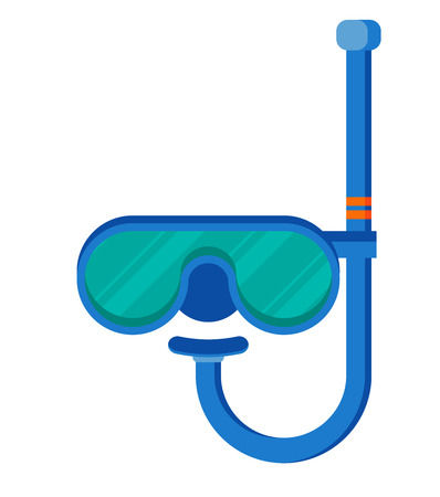 rubber tube: Diving mask with snorkel flat icon, modern vector illustration Illustration