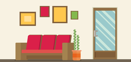 corridors: Office Room Door Corridor Waiting Hallway Flat Vector Illustration