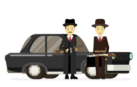male killer: Gangsters with old car. Vector flat illustration