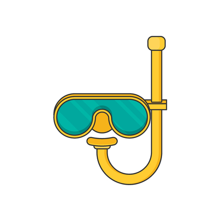 Diving mask with snorkel flat icon, modern vector illustration Illustration