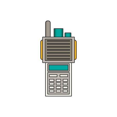 portable radio: Portable radio transmitter flat vector