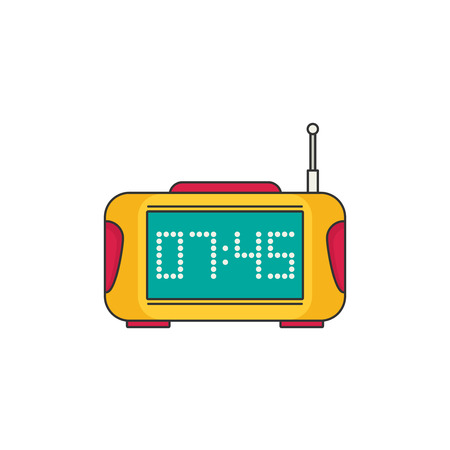 pm: Digital clock with radio. Flat vector icon