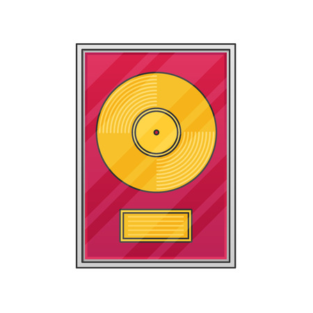 disk jockey: Flat vinyl disk. Illustration
