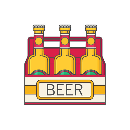 6 pack beer: Pack of beer bottles flat style icon. Vector illustration. Illustration