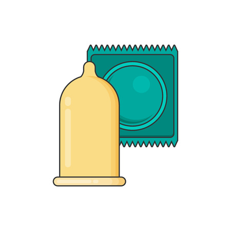 packaging aids: Condom and packages. Vector flat illustration.