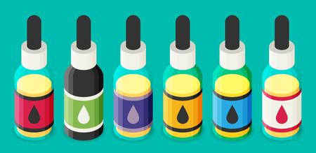 eliquid: Vector isometric e-liquid bottle for vaping