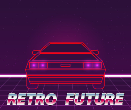 car: Retro future, 80s style Sci-Fi Background. Futuristic car. Illustration