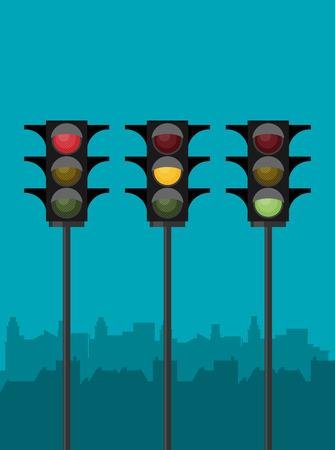 Traffic light set. Vector illustration.
