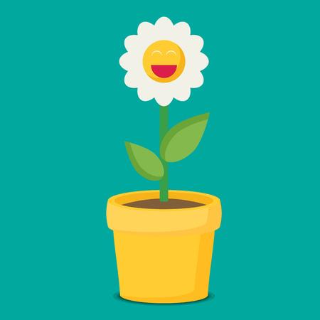 Flat vector flower in pot Illustration