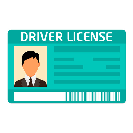 Car driver license identification with photo isolated on white background Vectores