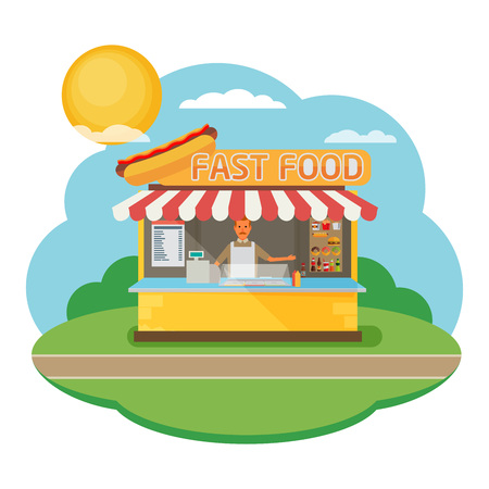 mayonnaise: Stall sells fast food. Flat vector