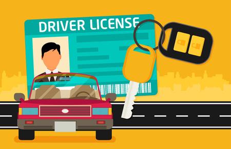 Auto Führerschein Identifikation mit Foto, Schlüssel und Auto. Vektorgrafik