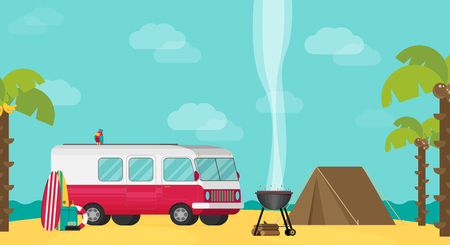 Vector caravan trailer camping in flat style.