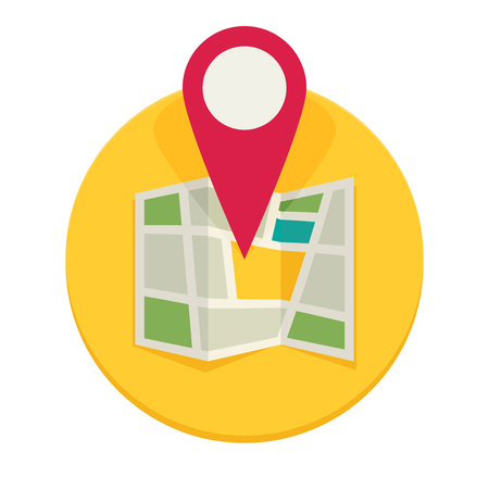 road position: Location map flat design vector icon
