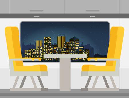 Passenger train inside. Flat style vector illustration. Illustration