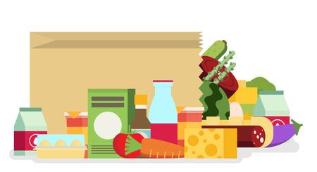 Sacchetto di carta, pacchetto con prodotti alimentari e bevande. Design piatto colorato illustrazione vettoriale