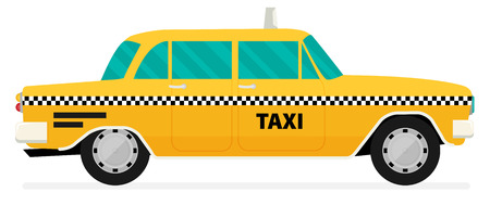 old new york: Vector graphic yellow, retro Taxi cab