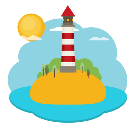Flat vector lighthouse