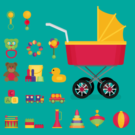 Juguetes para bebés conjunto de icono plano vector Vectores