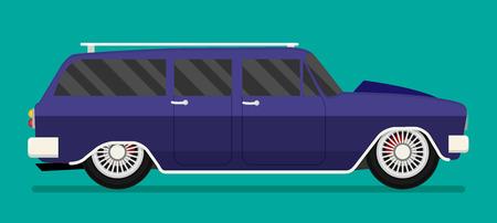 motorizado: Viejo coche de carreras de la escuela.