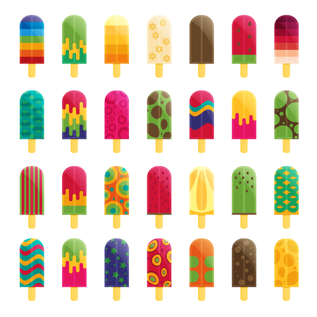 Popsicle ice cream flat vector Illustration