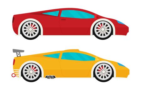 Flat racing car vector set. Eps 10 Illustration