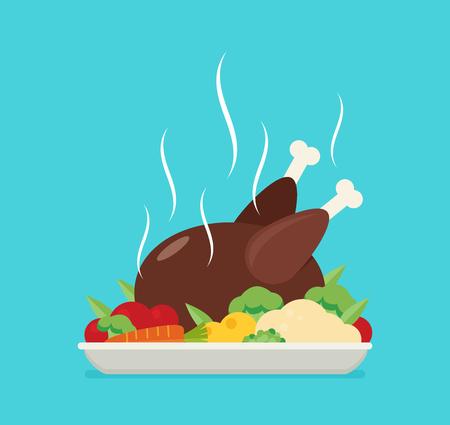 Flat vector baked chicken, turkey. Illustration