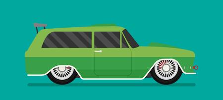 grille: Vector Hotrod flat. Old school race car.