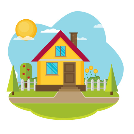 snug: Vector landscape with beautiful house