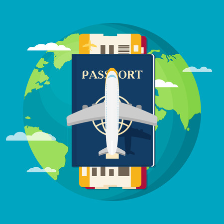 Passport with tickets icon vector illustration isolated on background. Illustration