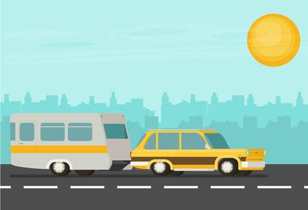 Flat vector Yellow Car Pulling Trailer Illustration