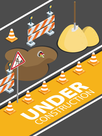 Road repair, under construction road sign, repairs, maintenance and construction of pavement. Flat vector isometric illustration