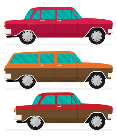 Flat vector old car set.