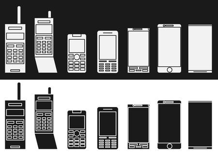 vintage telephone: Cell phone evolution illustration. Flat vector.