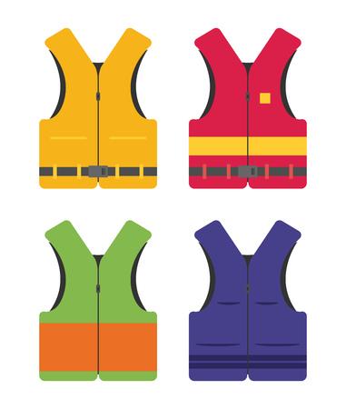 Life safety jacket flat vector set Stock Vector - 77524518