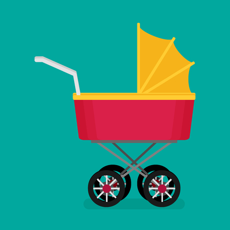 Vector illustration of flat baby carriage