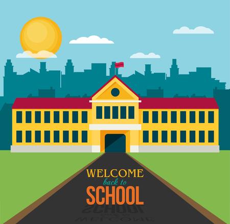 ilustración plana de edificio escolar para volver a la escuela