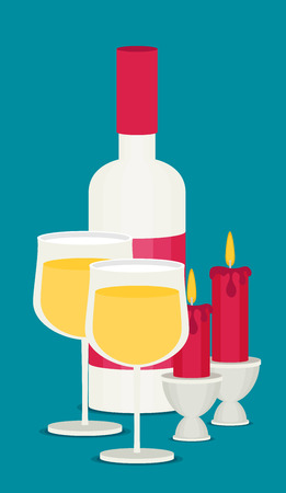 Colored flat design vector illustration wine