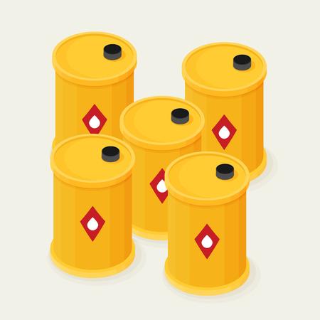 Oil barrels isometric Icon Vector