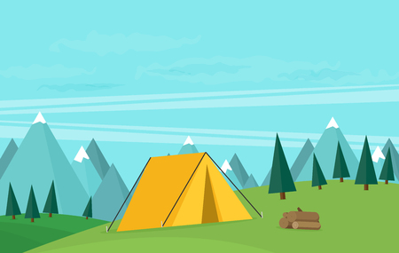 mountaineering: Vector vintage background with forest, mountains and hills