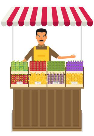 Produrre negoziante. Imprenditore al dettaglio di frutta e verdura che lavora nel suo negozio. Illustrazione piatta. EPS 10 vettoriale.
