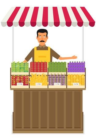 Produce shop keeper. Fruit and vegetables retail business owner working in his own store. Flat illustration. EPS 10 vector.