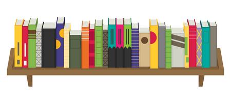 bibliography: Flat bookshelf. Vector illustration. Modern design