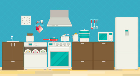 steam cooker: Interior of kitchen, pans on the stove, cooking. Vector illustration in flat style Illustration