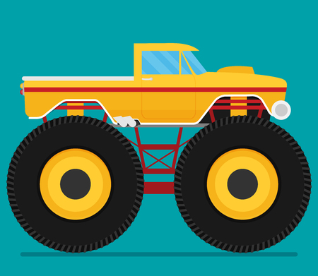 Off road car isolated on color background. Monster truck. Flat vector illustration