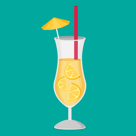 Cocktail. Flat icon vector Illustration