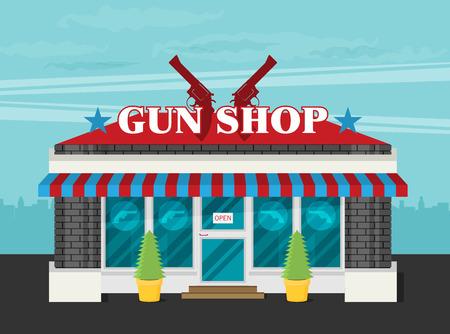 Facade of gun shop flat vector.